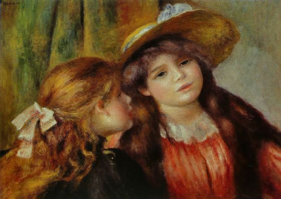 Renoir, Pierre Auguste: Portrait of Two Girls. Fine Art Print/Poster. Sizes: A4/A3/A2/A1 (004283)